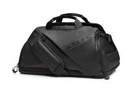 HP OMEN Transceptor 17 Duffle Bag/ Backpack, Black, water resistant, RFID-blocking theft prevention.