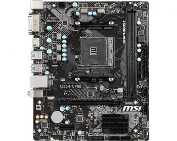 MSI A320M-A PRO, Socket AM4, AMD A320, Dual 2xDDR4-3200, APU AMD graphics, DVI, HDMI, 1xPCIe X16, 4xSATA3, RAID, 1xPCIe X1, ALC892 HDA, GbE LAN, 6xUSB3.2 Gen 1, mATX