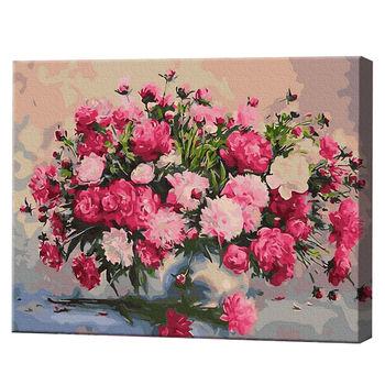 Букет розовых пионов, 40х50 см, картина по номерам Артукул: GX34010