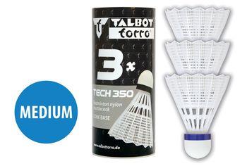 "Воланчик для бадминтона ""Medium"" (нейлон, пробка)  Talbot Torro Tech350 479112 white-blue (4698)"