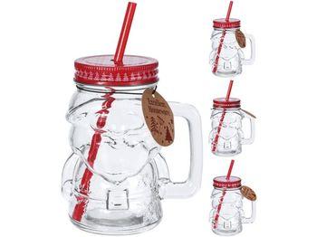 """Банка для напитков с ручкой и труб""""Дед мороз"""" 400ml, H14.5cm"""