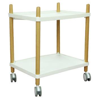 cumpără Masă-cărucior din plastic în două nivele, picioare din lemn cu rotile 500x360x600 mm, alb în Chișinău