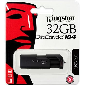 32GB USB2.0  Kingston DataTraveler 104 Black, Stylish black casing with a sliding cap design (Read 18 MByte/s, Write 10 MByte/s)