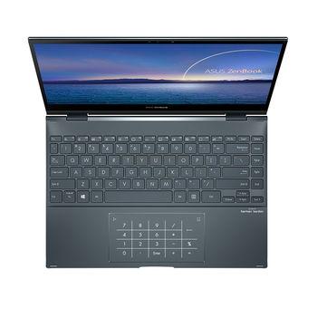"Ноутбук 13.3"" ASUS ZenBook Flip 13 UX363EA Pine Grey, Intel i5-1135G7 2.4-4.2Ghz/8GB LPDDR4X/SSD 512GB M.2 NVMe/Intel Iris Xe Graphics/WiFi 6 802.11ax/BT5.0/HDMI/HD WebCam/Illum. Keyb./Number Pad/13.3"" OLED Touchscreen Glossy (1920x1080)/Windows 10 UX363EA-HP184T"