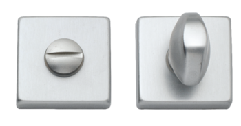 Дверная ручка на розетке Acapulco матовое серебро + накладка WC