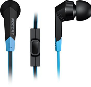 ROCCAT Syva / High Performance In-ear Headset, In-cable Microphone (omni-directional), In-cable Remote, Deep bass and crisp trebles, Stylish ribbon cable, 3.5mm jack, Black/Blue