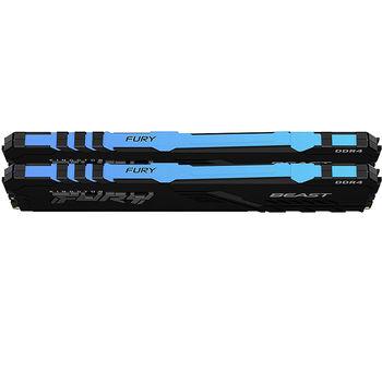 Memorie operativa 32GB DDR4 Dual-Channel Kit Kingston HyperX FURY Beast RGB KF436C18BBAK2/32 32GB (2x16GB) DDR4 PC4-28800 3600MHz CL18, Retail (memorie/память)