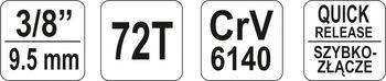 """купить ТРЕЩОТКА С ИЗОГНУТОЙ РУЧКОЙ YATO 3/8"""", 0731YT в Кишинёве"""