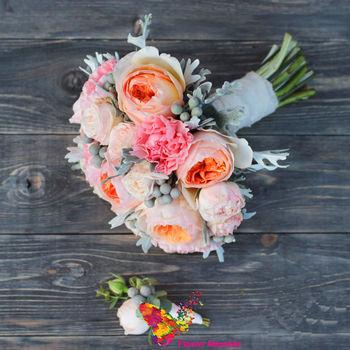 купить Букет невесты в пудровых тонах в Кишинёве