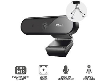 Trust Tyro Full HD Webcam, Full HD 1080p resolution and auto-focus, tripod, 1,5m, USB