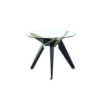 cumpără Masă rotundă cu suprafaţa din sticlă, picioare din metal, 900x750 mm, negru în Chișinău