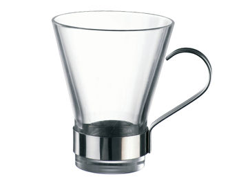Стакан 320ml стеклянный для чая, металлич.подстаканник