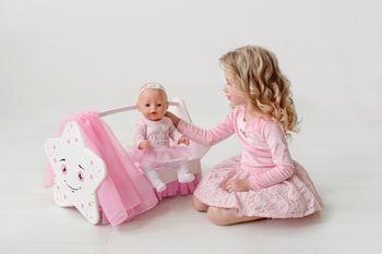 купить Деревянная Кроватка для кукол с балдахином в Кишинёве