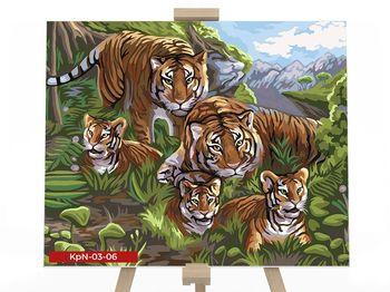 Картина по номерам 30х40 Семейство тигров