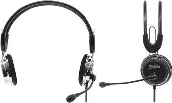 SVEN AP-525MV, Headphones with microphone, Volume control, 2.2m, Black