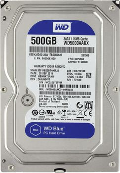 "HDD 3.5"" Western Digital 500Gb WD5000AAKX Caviar® Blue, 7200rpm 16Mb, SATA3"