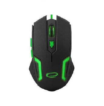 Esperanza FIGHTER MX205, Optical Mouse for professional game players, 6D, 800/1200/1600/2400 DPI, illuminated, braided cable 1.5m, USB, Green
