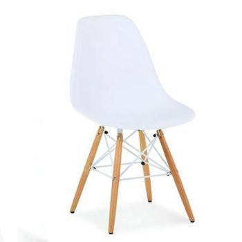 купить Стул пластиковый с деревянными ножками и металлическими креплениями, белый в Кишинёве