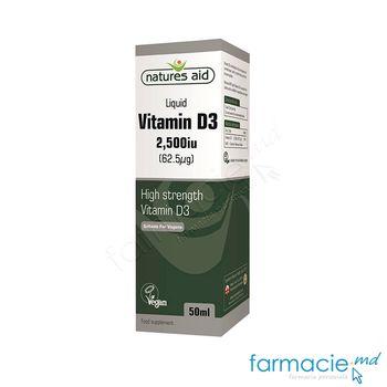 cumpără Vitamina D3 2500iu (62.5mcg) pic.orale 50ml Natures Aid în Chișinău