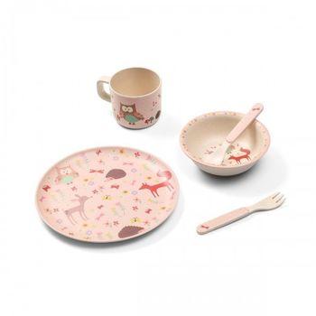 Бамбуковая посуда для детей FOREST PINK
