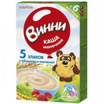 купить Винни каша молочная 5 злаков с яблоком и малиной, 6+мес, 200 gr в Кишинёве