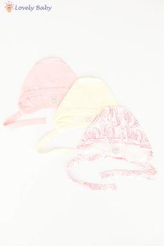 Шапочки 3 шт с розовым рисунком