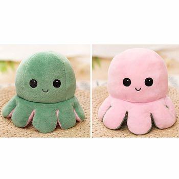Octopus Plush Reversible, Green & Pink