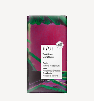 Темный шоколад с цельным орехами bio Vivani 100г