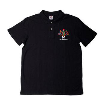 купить Мужская футболка Polo (черная) - Древо Жизни в Кишинёве