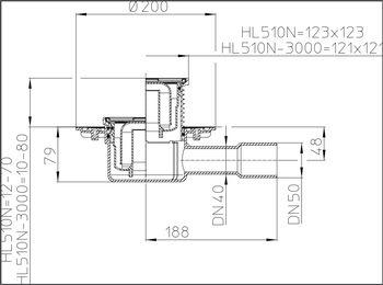 купить Трап внутр/горизонт. ПП DN40/50 (123х 123 нерж) HL510N M в Кишинёве