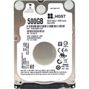 "2.5"" HDD 500GB  Hitachi Travelstar Z5K500.B, 5400rpm, 16MB, 7mm, SATAIII (HTS545050B7E660)"