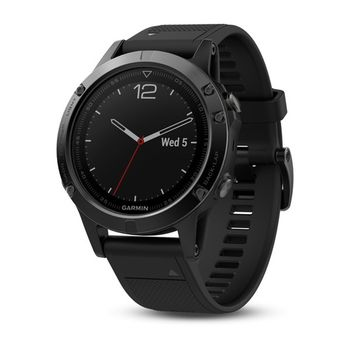 "GARMIN fenix 5 Sapphire Black with black band, Multisport GPS Watch for Sport, 1.2"", Water rating 10ATM, Battery life Smart mode: Up to 2 weeks, 64MB, GPS, Compass, Bluetooth, Smart, ANT+, Wifi, Smart notifications and Activity Tracking Features, 85g"