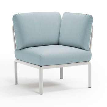 Кресло модуль угловой с подушками Nardi KOMODO ELEMENTO ANGOLO BIANCO-ghiaccio Sunbrella 40374.00.138