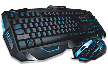 "MARVO ""KM400"", Backlit Gaming Keyboard & Mouse Combo, Keyboard: 114 keys, 10-multimedia keys, 3-color lightings; Mouse: 800/1200/1600/2400dpi adjustable, Optical sensor, 6 buttons, 7 colors cycling in breathing mode, Braided cable, USB, Black"