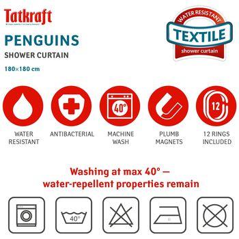 купить Штора для ванной комнаты Tatkraft , с кольцами, 180 х 180 см 21020 в Кишинёве