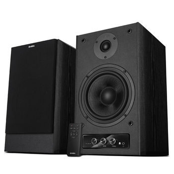 SVEN MC-30 Black,  2.0 / 2x100W RMS, D-CLASS AMPLIFIER WITH DSP, remote control, dimensions 225x255x355 mm, black, wooden.