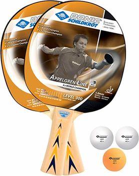 Набор для настольного тенниса (2 ракетки + 3 мяча) Donic Level 300,  ITTF (3218)