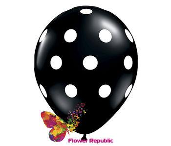 купить Воздушный шар черный  с рисунком Горошек - 30 см в Кишинёве