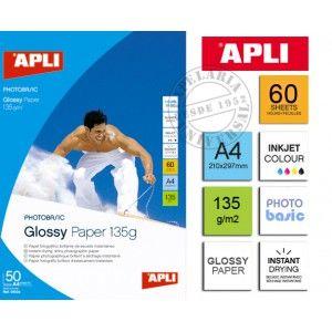APLI Glossy High Bright paper, 135g/m2, 50f