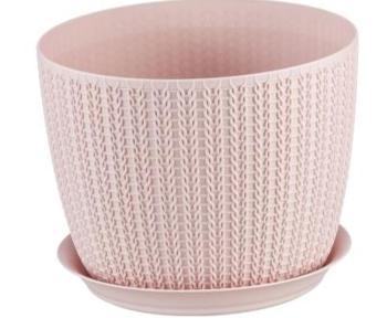 купить Горшок для цветов пластиковый Idea М3122 Вязание белый, 4.5 л в Кишинёве
