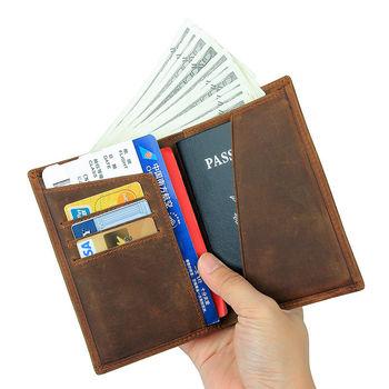 купить Мужской кошелек в стиле ретро, для карт, паспорт, Dark coffee в Кишинёве