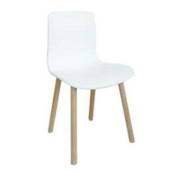 купить Пластиковый стул с деревянными ножками, белый в Кишинёве