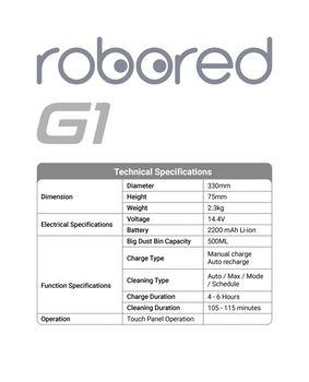 купить Robored G1 Robot Vacuum cleaner Redline в Кишинёве