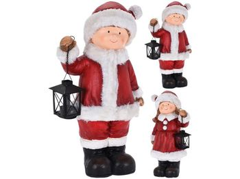 Сувенир керамический Дети в новогоднем костюме с фонарем 46c