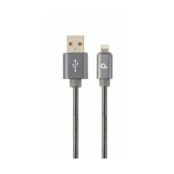Gembird CC-USB2S-AMLM-1M-BG USB to Lightning  1M, Premium spiral metal USB to 8-pin charging and data cable for  Apple iPhone or iPad, up to 480 Mb/s, cotton braided, blister, grey
