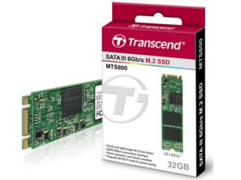 """.M.2 SATA SSD 32 ГБ Transcend """"TS32GMTS800S"""" [80 мм, R / W: 500/450 МБ / с, 70/75 000 операций ввода-вывода в секунду, SM2246EN, MLC]"""