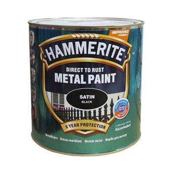 Hammerite Краска для металла Черная полуматовая 2.5л