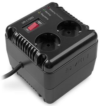 SVEN VR-L1500, 500W, Automatic Voltage Regulator, 2x Schuko outlets+1x ІЕС 320, Input voltage: 184-285V, Output voltage: 230V ± 10%, diod indicators on the front panel, plastic body, Black