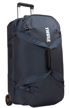 Travel Bag - THULE Subterra Rolling Duffel 75L, Mineral, 800D Nylon, Dimensions 35 x 40 x 70 cm, Weight 4.1 kg, Volume 75, Bag design absorbs the impact of travel due to the durable exoskeleton and molded polycarbonate back panel