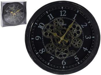 Часы настенные круглые 37cm, H7cm, прозрачный механизм, мет